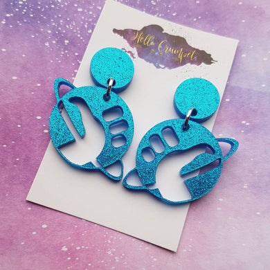 Hitchhiker's Guide to the Galaxy themed blue glitter acrylic earrings