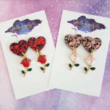 Load image into Gallery viewer, TALE AS OLD AS TIME - acrylic and enamel rose heart drop earrings - MULTIPLE OPTIONS AVAILABLE
