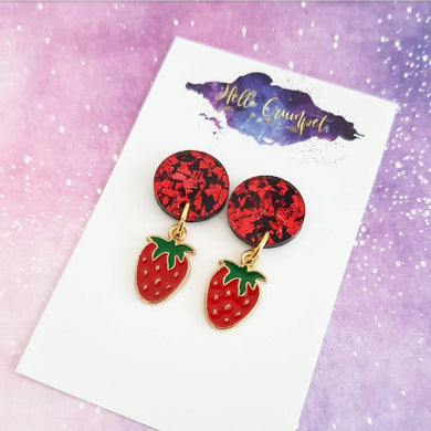 SWEET STRAWBS acrylic lasercut and enamel drop strawberry earrings