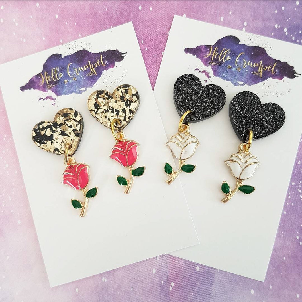 TALE AS OLD AS TIME - acrylic and enamel rose heart drop earrings - MULTIPLE OPTIONS AVAILABLE