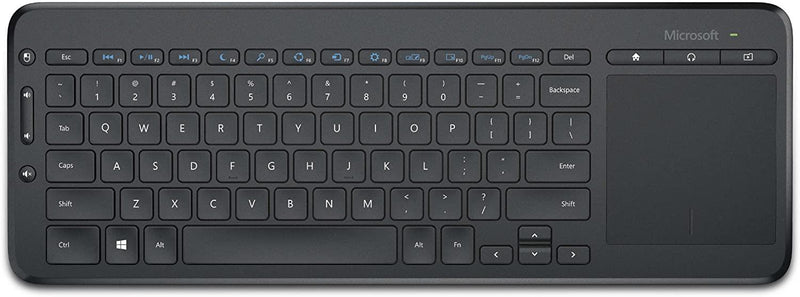 Microsoft All-in-One Media Wireless 2.4 GHz Keyboard - Spill-resistant, integrated touchpad