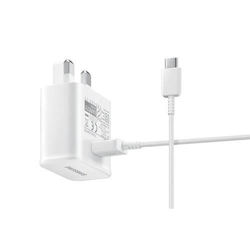 Official Samsung Adaptive Fast Mains Charger + USB-C Data Cable White