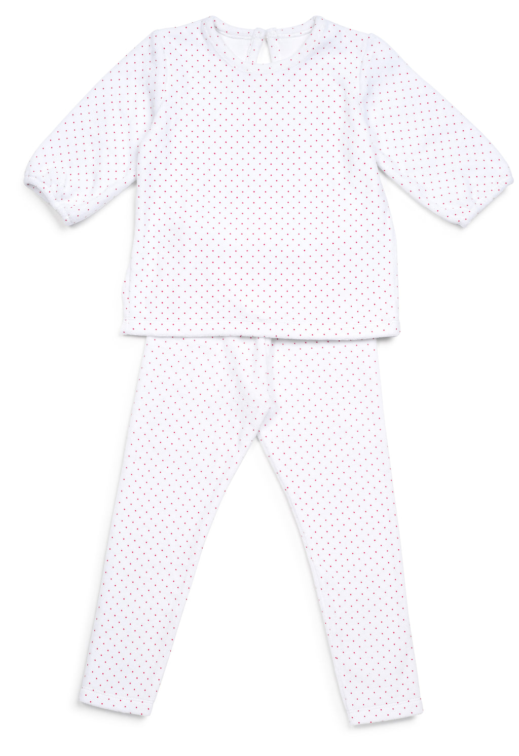 Velour Red Dotted Pajamas - Mouche Kids