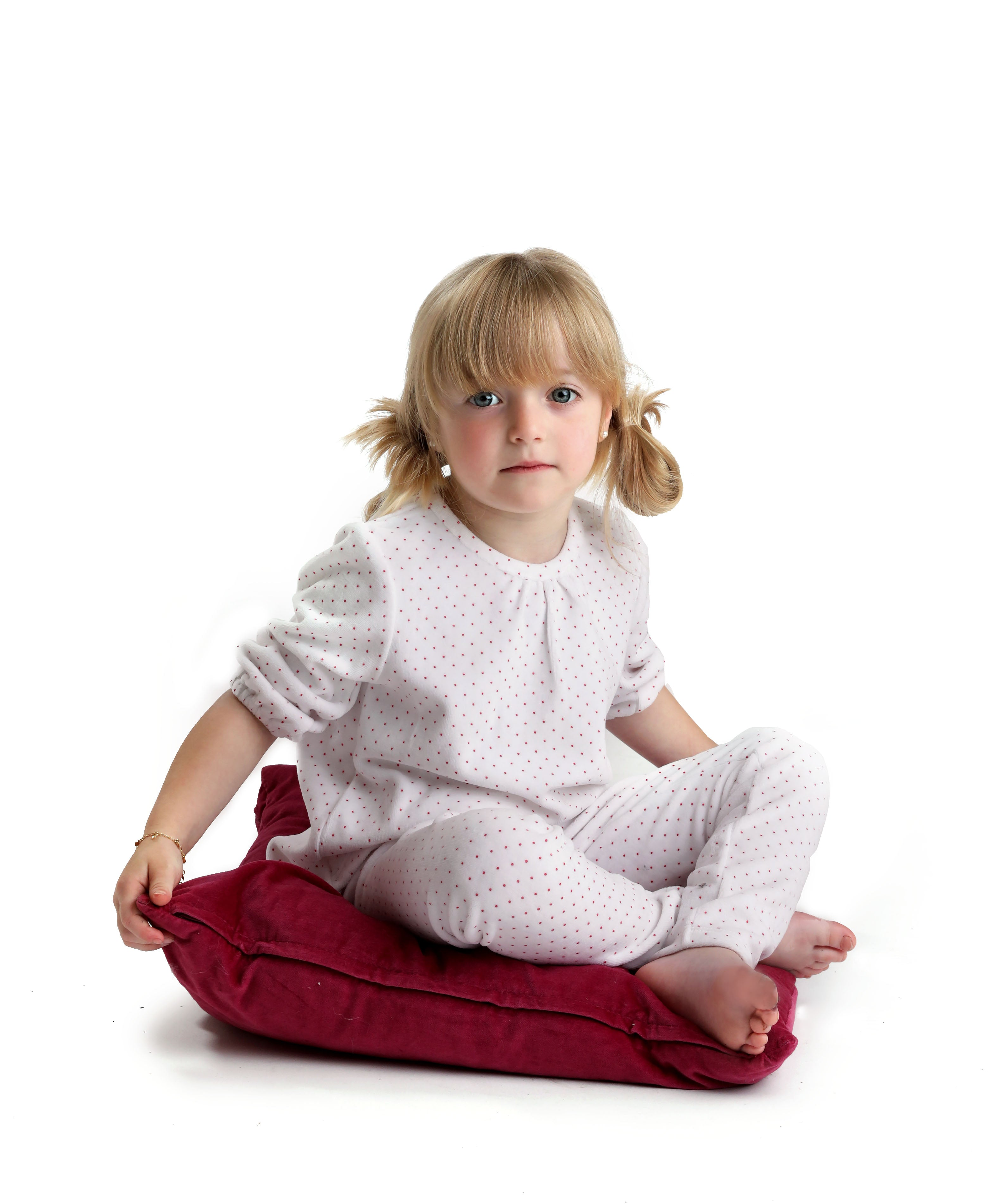 Sale! Velour Red Dotted Pajamas - Mouche Kids