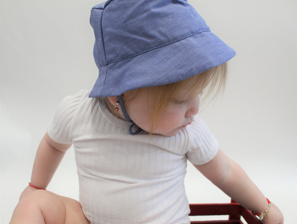 Chambray Brim Sun Hat - Mouche Kids