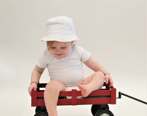 White Cotton Brim Sun hat - Mouche Kids