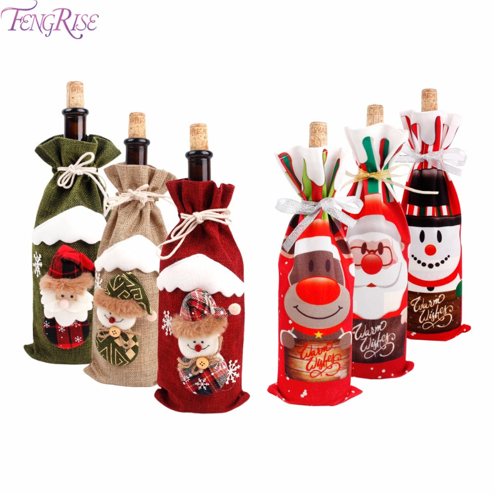 Christmas Decorations for Home Claus Wine Bottles Cover Snowman Stocking Gifts
