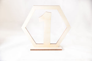 Wooden Geometric Table Number, natural Baltic birch