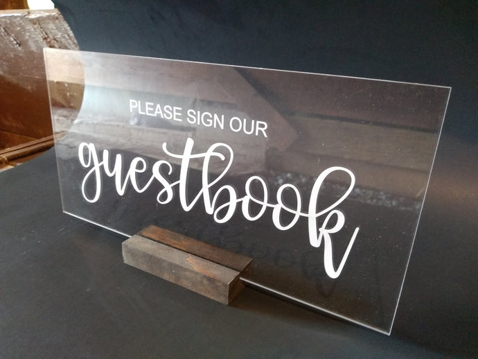 Acrylic Wedding Sign - Guestbook, Reserved, Cards & Gifts, etc...