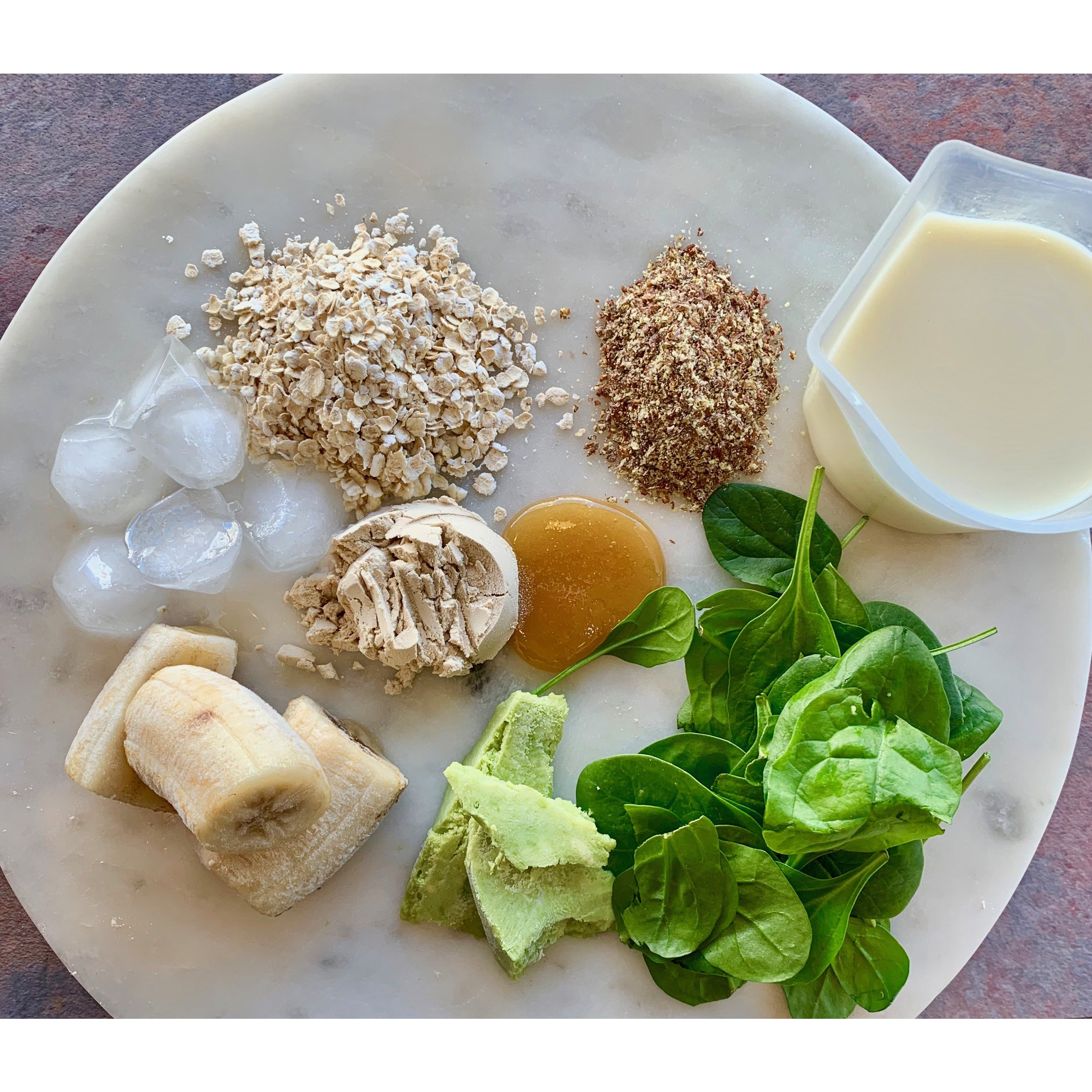 plant-based protein powder spinach flax meal brewers yeast banana avocado and milk