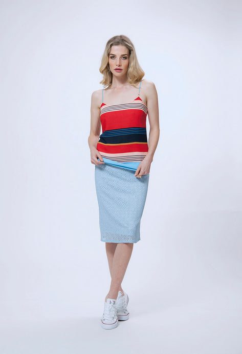 195 amber cami - multi stripe & 187 debbie skirt - blue lace (1).jpg