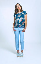 Load image into Gallery viewer, 279 Jackie Top - navy floral & 174 Rebecca Pant - sky blue (1).jpg