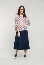 Load image into Gallery viewer, 318 Bernadine Top - ballet polka & 480 Sydney Skirt - indigo satin  (2).jpg