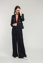 Load image into Gallery viewer, 401 Nina Blazer - black linen, 489 Katie Top - orange check & 476 Marie Pants - black linen  (2).jpg