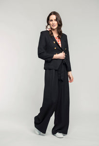 401 Nina Blazer - black linen, 489 Katie Top - orange check & 476 Marie Pants - black linen .jpg