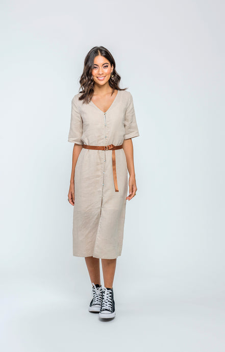 Hazel Midi Dress | Natural Linen