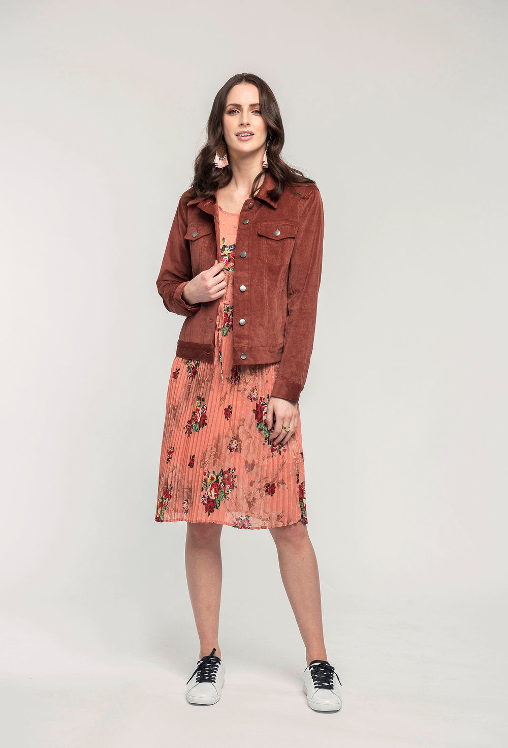 414 Georgie Jacket - mocha cord & 474 Adelaide Dress - coral pixel .jpg