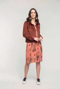 414 Georgie Jacket - mocha cord & 474 Adelaide Dress - coral pixie.jpg