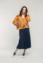 Load image into Gallery viewer, 459 Brielle Top - gold pixel & 480 Sydney Skirt - indigo satin .jpg