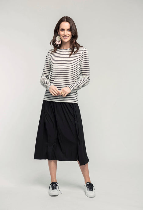 461 Isla Top - slate stripe & 480 Sydney Skirt - black satin  (2).jpg