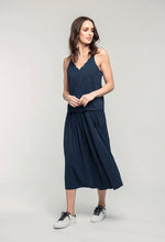 Load image into Gallery viewer, 481 Penelope Cami - indigo satin & 480 Sydney Skirt - indigo satin  (2).jpg