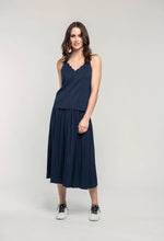 Load image into Gallery viewer, 481 Penelope Cami - indigo satin & 480 Sydney Skirt - indigo satin .jpg