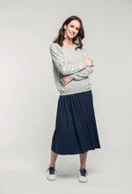 Load image into Gallery viewer, 488 Robyn Jumper - grey star & 480 Sydney Skirt - indigo satin  (2).jpg