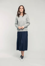 Load image into Gallery viewer, 488 Robyn Jumper - grey star & 480 Sydney Skirt - indigo satin  (3).jpg