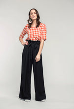 Load image into Gallery viewer, 489 Katie Top - orange check & 476 Marie Pants- black linen  (3).jpg