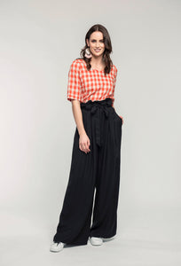 489 Katie Top - orange check & 476 Marie Pants- black linen .jpg
