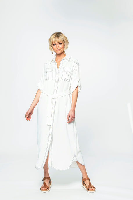 Julia Shirt Dress | White Chalk