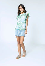 Load image into Gallery viewer, Alina Top & Lara Shorts- hydrangea love & blue denim 2.jpg