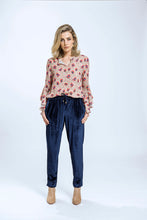 Load image into Gallery viewer, Belle Top & Yve Pants- Fawn Pansy & Navy Velvet 1.jpg