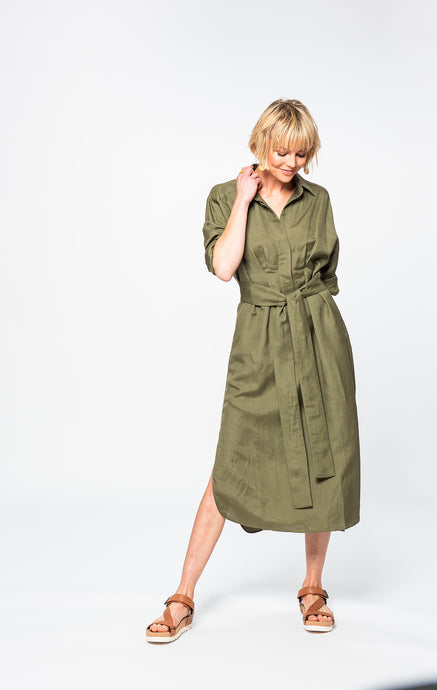 Tash Shirt Dress | Khaki Linen