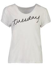 Load image into Gallery viewer, Fashion Tee White-Tuesday_Front.jpg
