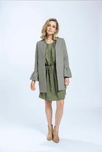 Load image into Gallery viewer, Frill Coat- Green Herringbone 3.jpg