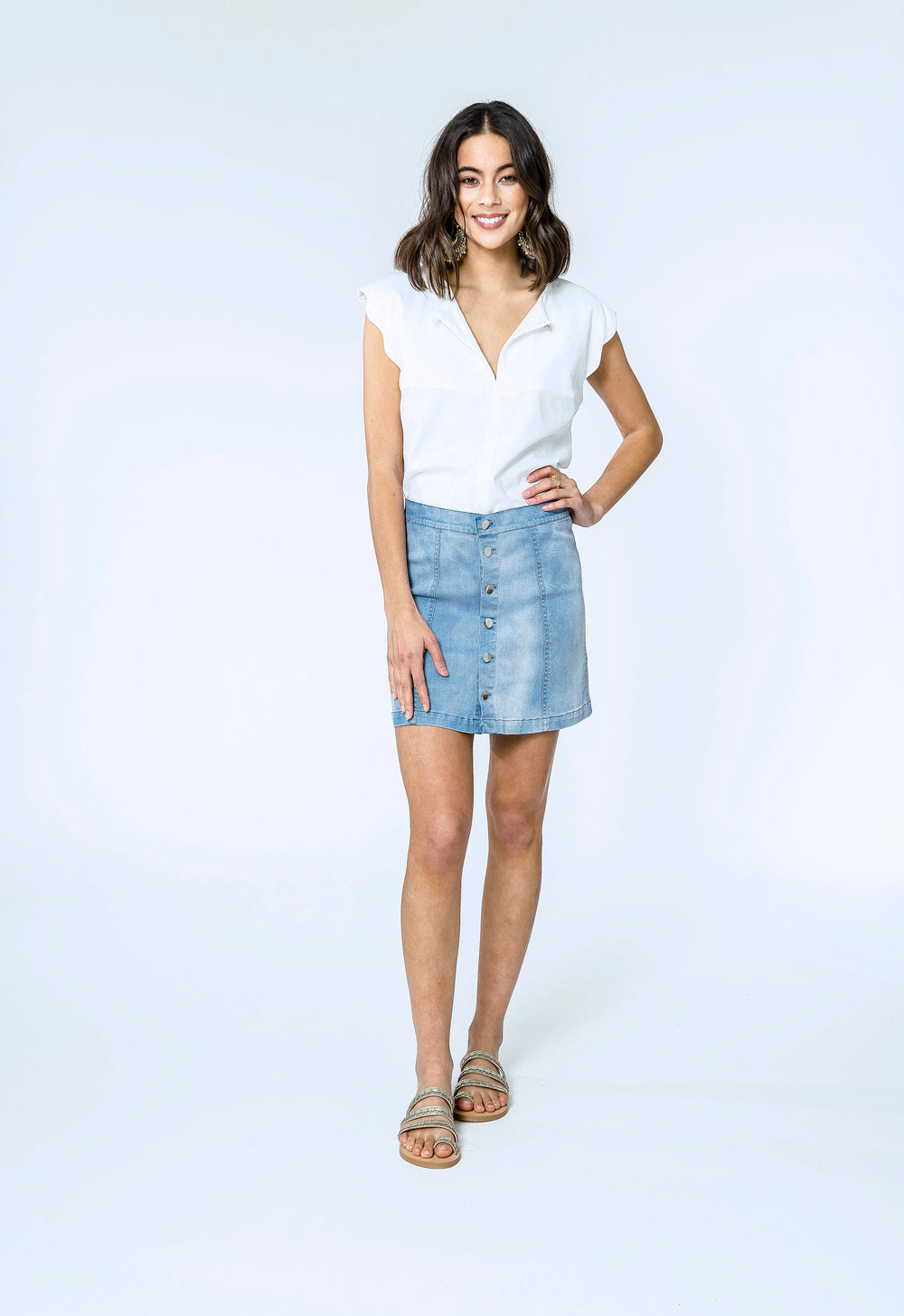 Katherine Top & Danika Skirt- white linen & blue denim 1.jpg