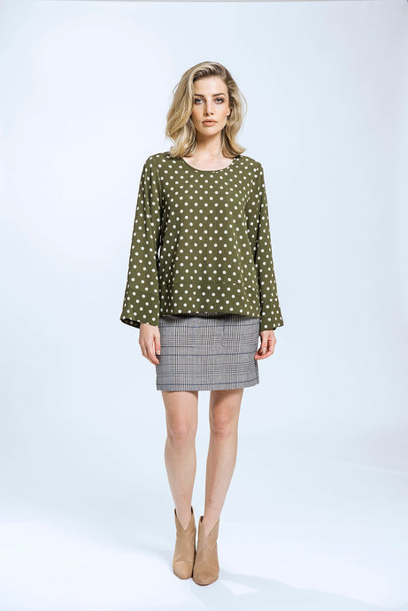 Leanne Top & Bianca Skirt- Green Spot & Plaid Check 1.jpg