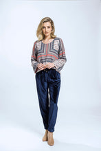 Load image into Gallery viewer, Leeann Top & Yve Pants- Patchwork Print & Navy Velvet 1.jpg
