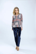 Load image into Gallery viewer, Leeann Top & Yve Pants- Patchwork Print & Navy Velvet 2.jpg