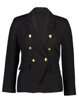 Load image into Gallery viewer, Nina Blazer Black Linen _Front.jpg