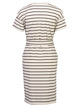 Load image into Gallery viewer, Theodora Dress Chestnut Stripe_Back.jpg