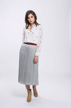 Load image into Gallery viewer, Vanessa Shirt- White Cherry & Erin Skirt- Silver Grey 1.jpg