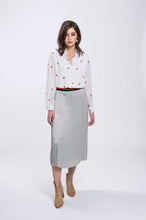 Load image into Gallery viewer, Vanessa Shirt- White Cherry & Erin Skirt- Silver Grey 2.jpg