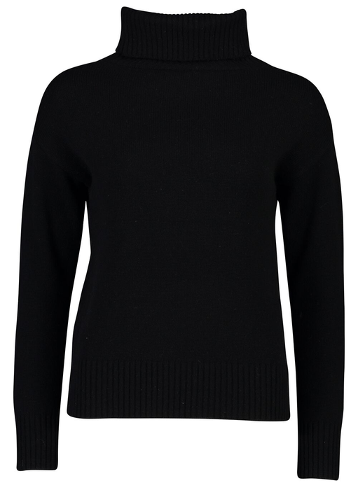 Roll Neck Jumper | Black Cashmere