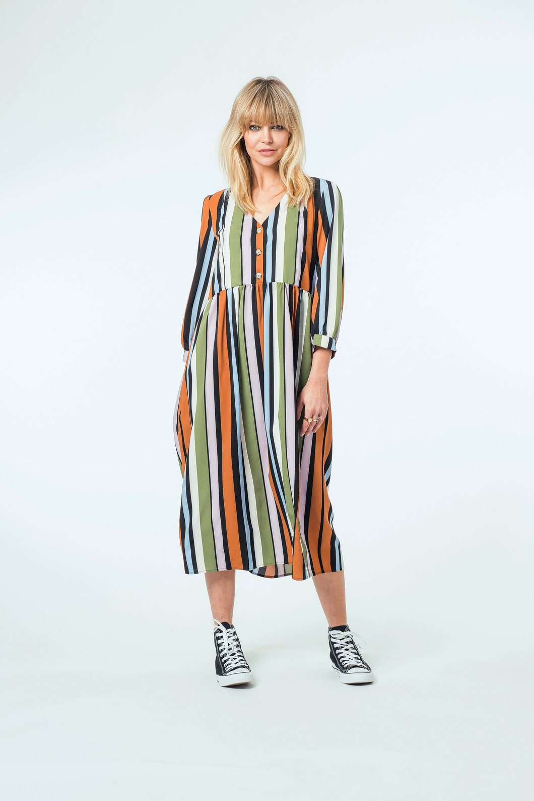 Lola Midi Dress |  Multi Stripe