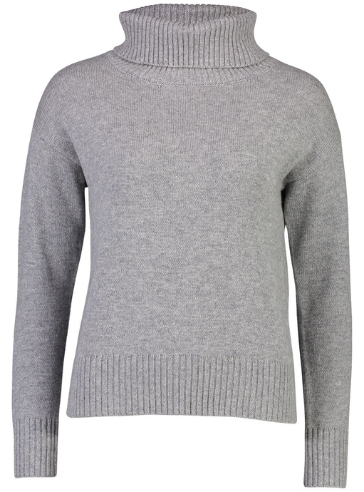 Roll Neck Jumper | Grey Cashmere