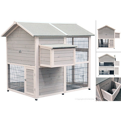 CHICKEN HOUSE TIMBER 2 STOREY PET ONE 160.5X141X141