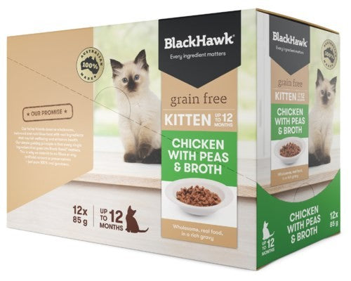 BLACK HAWK FELINE KITTEN CHICKEN 12X85G