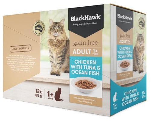 BLACK HAWK FELINE 85G X 12 CHICKEN OCEAN FISH TUNA